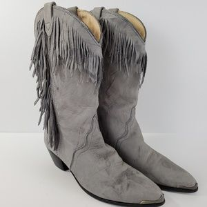 Acme Fringe Western Boots Gray Suede Distressed